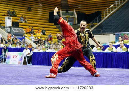 JAKARTA, INDONESIA - NOVEMBER 17, 2015: the Iranian team performs the action fights in the Men's Duel event at the 13th World Wushu Championship 2015 in Istora Senayan Stadium.