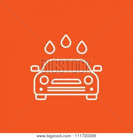 Car wash line icon for web, mobile and infographics. Vector white icon isolated on red background.