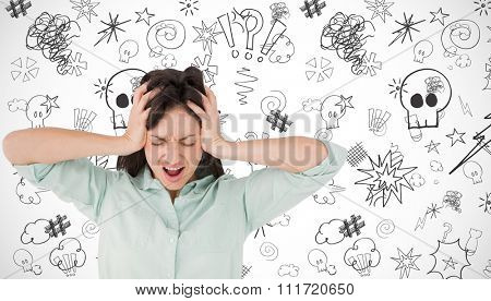 Depressed woman shouting against white background with vignette