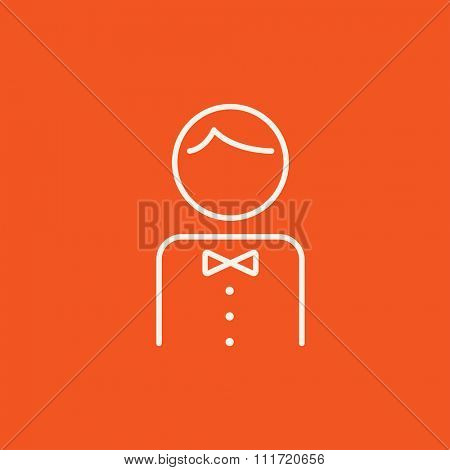 Waiter line icon for web, mobile and infographics. Vector white icon isolated on red background.