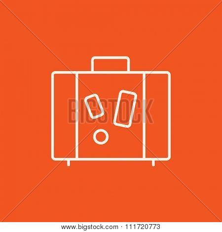 Suitcase line icon for web, mobile and infographics. Vector white icon isolated on red background.