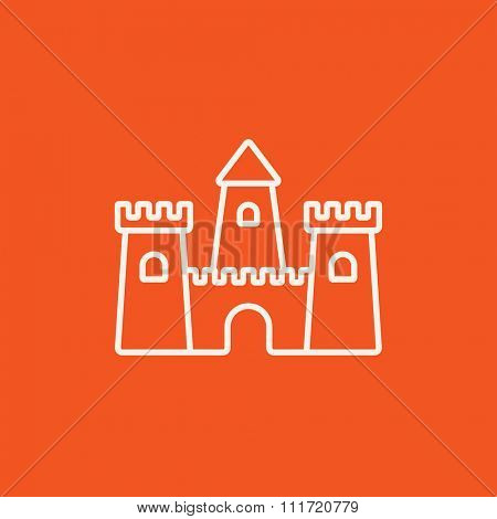 Sandcastle line icon for web, mobile and infographics. Vector white icon isolated on red background.