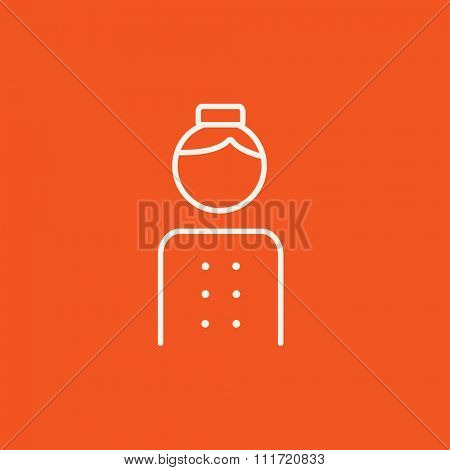 Bellboy line icon for web, mobile and infographics. Vector white icon isolated on red background.
