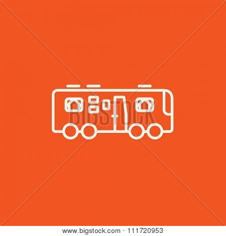 Motorhome line icon for web, mobile and infographics. Vector white icon isolated on red background.