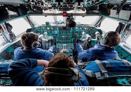 Ulan-Ude,Russia - April 21, 2015: Inside cabine of an old Soviet cargo plane IL-76 is a multi-purpos