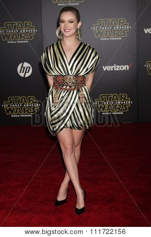 LOS ANGELES - DEC 14:  Billie Lourd at the Star Wars: The Force Awakens World Premiere at the Hollywood & Highland on December 14, 2015 in Los Angeles, CA