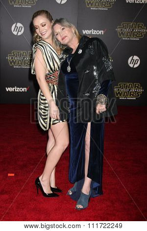 LOS ANGELES - DEC 14:  Billie Lourd, Carrie Fisher at the Star Wars: The Force Awakens World Premiere at the Hollywood & Highland on December 14, 2015 in Los Angeles, CA