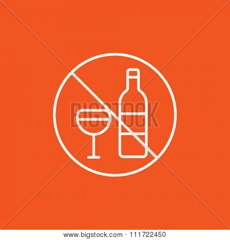 No alcohol sign line icon for web, mobile and infographics. Vector white icon isolated on red background.