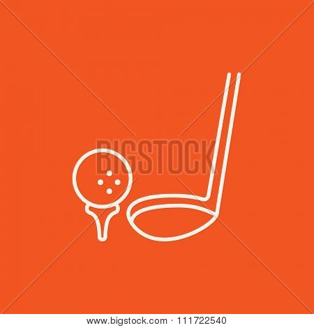 Golf ball and putter line icon for web, mobile and infographics. Vector white icon isolated on red background.