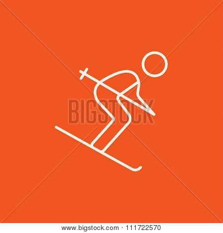 Downhill skiing line icon for web, mobile and infographics. Vector white icon isolated on red background.