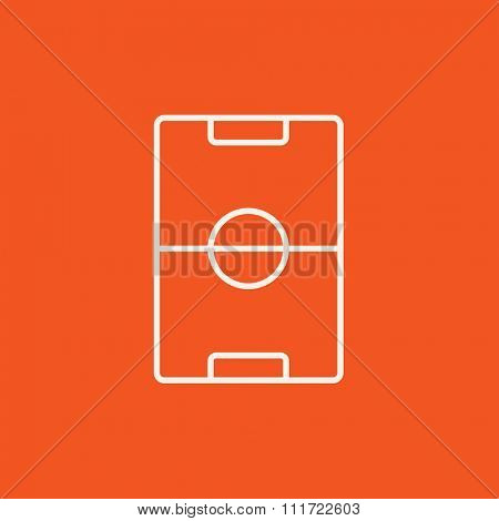 Stadium layout line icon for web, mobile and infographics. Vector white icon isolated on red background.