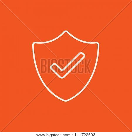 Quality is confirmed sign line icon for web, mobile and infographics. Vector white icon isolated on red background.