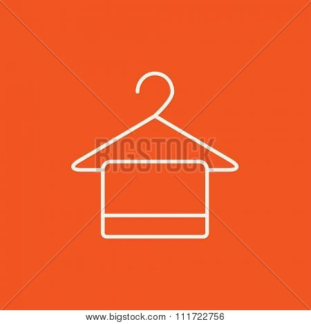 Towel on hanger line icon for web, mobile and infographics. Vector white icon isolated on red background.