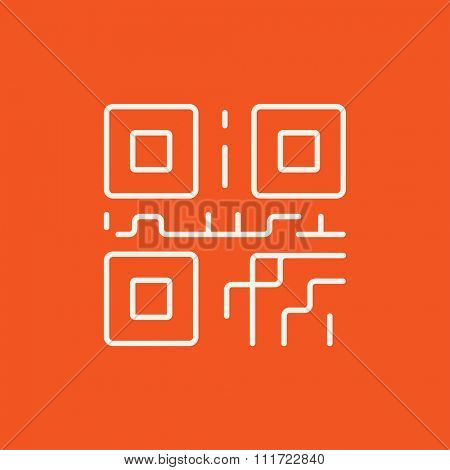 QR code line icon for web, mobile and infographics. Vector white icon isolated on red background.