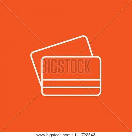 Credit cards line icon for web, mobile and infographics. Vector white icon isolated on red background.