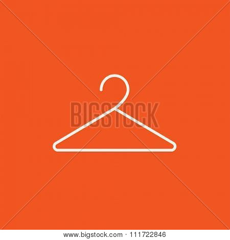 Hanger line icon for web, mobile and infographics. Vector white icon isolated on red background.