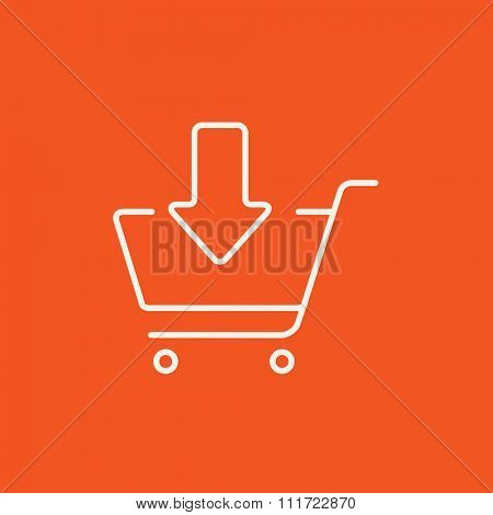 Shopping cart with down directed arrow line icon for web, mobile and infographics. Vector white icon isolated on red background.