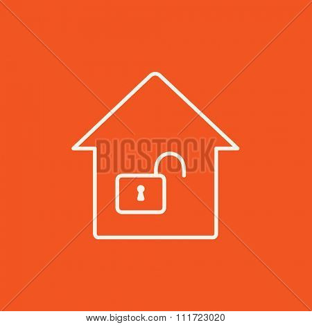 House with an open lock line icon for web, mobile and infographics. Vector white icon isolated on red background.