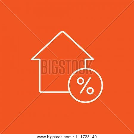 House with discount tag line icon for web, mobile and infographics. Vector white icon isolated on red background.
