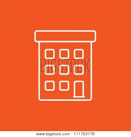 Condominium building line icon for web, mobile and infographics. Vector white icon isolated on red background.