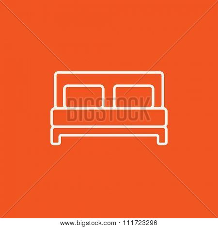 Double bed line icon for web, mobile and infographics. Vector white icon isolated on red background.