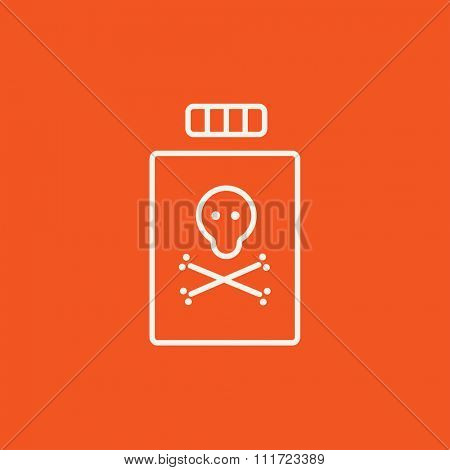 Bottle of poison line icon for web, mobile and infographics. Vector white icon isolated on red background.