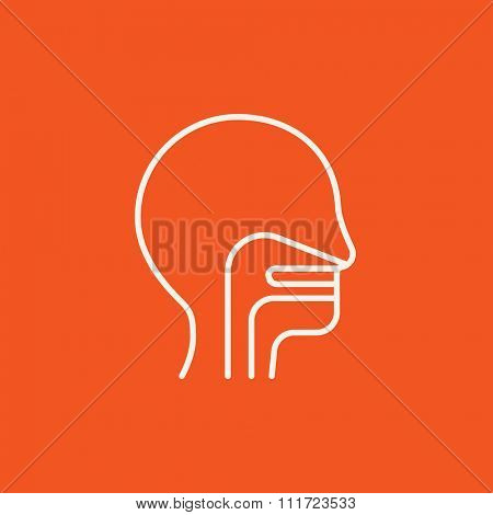 Human head with ear, nose, throat system line icon for web, mobile and infographics. Vector white icon isolated on red background.