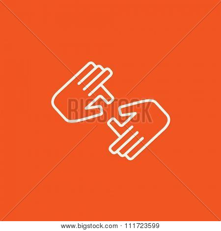 Finger language line icon for web, mobile and infographics. Vector white icon isolated on red background.