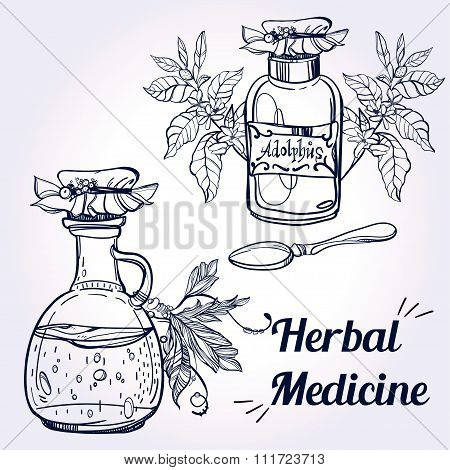 Illustration of herbal medicine.