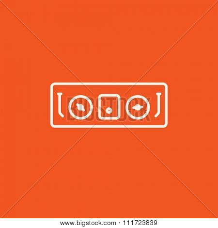 DJ console line icon for web, mobile and infographics. Vector white icon isolated on red background.