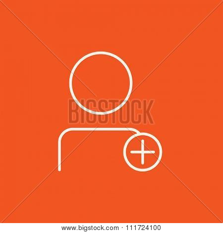 User profile with plus sign line icon for web, mobile and infographics. Vector white icon isolated on red background.