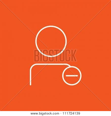 User profile with minus sign line icon for web, mobile and infographics. Vector white icon isolated on red background.