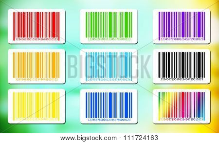 Bright bar codes on abstract background. Vector image