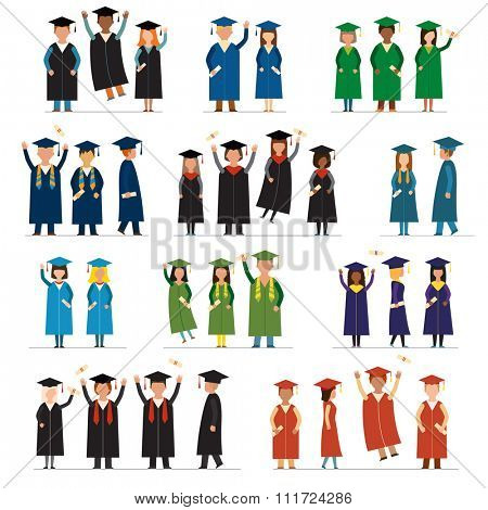 Graduate people flat silhouette vector icons. Graduation university flat people icons. Flat graduate education people icons isolated. Graduation education people icons