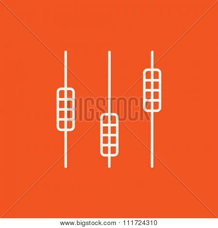Sound mixer consoleline icon for web, mobile and infographics. Vector white icon isolated on red background.