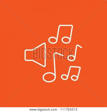 Loudspeakers with music notes line icon for web, mobile and infographics. Vector white icon isolated on red background.