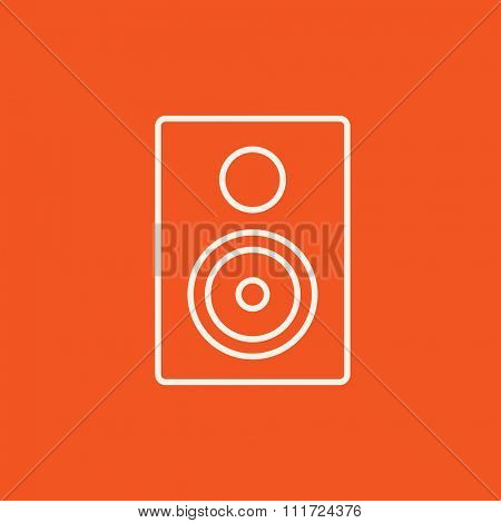 MP3 player line icon for web, mobile and infographics. Vector white icon isolated on red background.