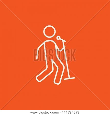 Man singing with microphone line icon for web, mobile and infographics. Vector white icon isolated on red background.