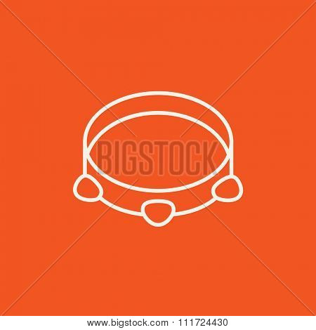 Tambourine line icon for web, mobile and infographics. Vector white icon isolated on red background.