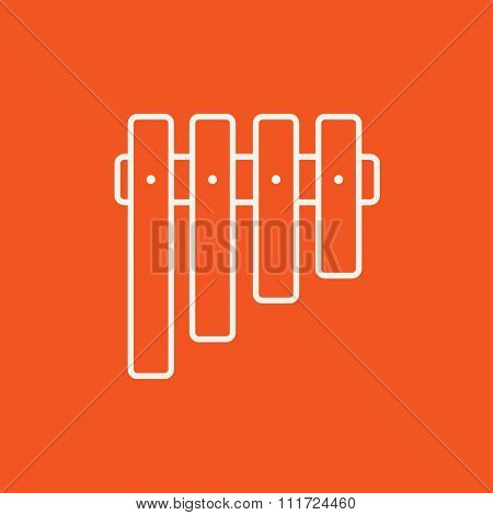 Vibraphone line icon for web, mobile and infographics. Vector white icon isolated on red background.