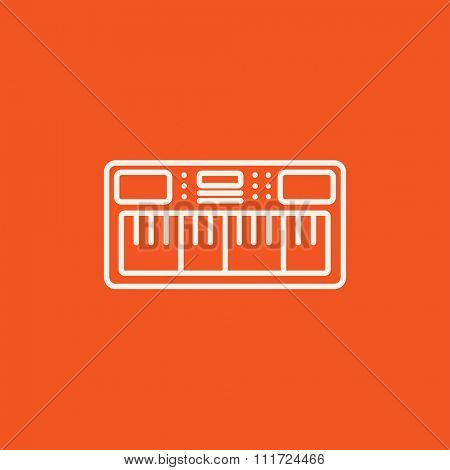 Synthesizer line icon for web, mobile and infographics. Vector white icon isolated on red background.