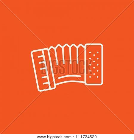Accordion line icon for web, mobile and infographics. Vector white icon isolated on red background.