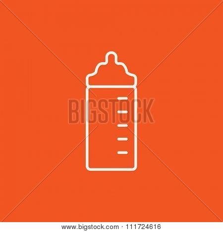Feeding bottle line icon for web, mobile and infographics. Vector white icon isolated on red background.