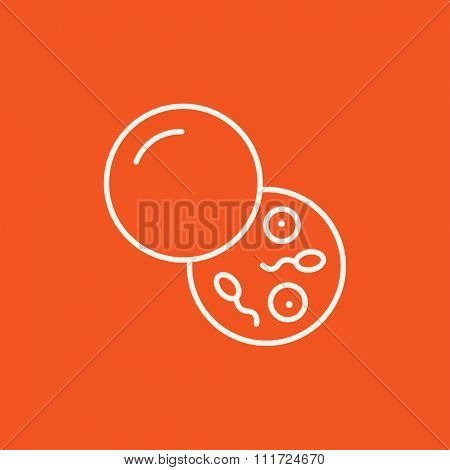 Donor sperm line icon for web, mobile and infographics. Vector white icon isolated on red background.