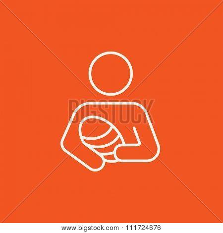 Woman holding the baby line icon for web, mobile and infographics. Vector white icon isolated on red background.