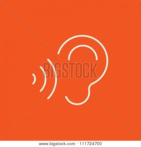 Ear and sound waves line icon for web, mobile and infographics. Vector white icon isolated on red background.