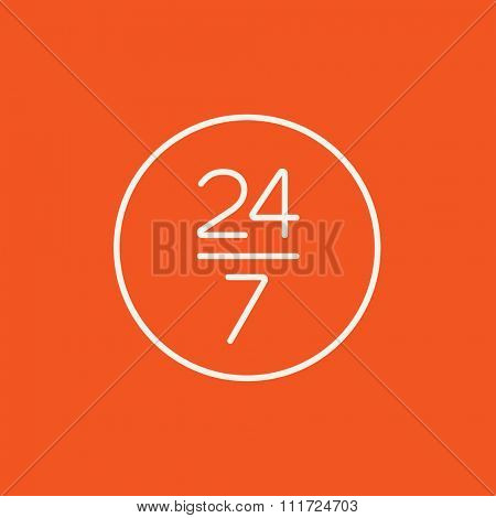 Open 24 hours and 7 days in wheek sign line icon for web, mobile and infographics. Vector white icon isolated on red background.