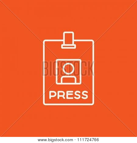 Press pass ID card line icon for web, mobile and infographics. Vector white icon isolated on red background.