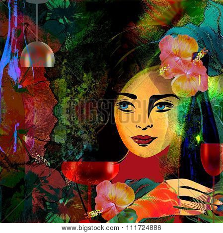 Stylized Woman Face  On A Colored Tropical  Background,wine Menu