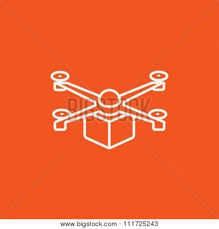 Drone delivering a package line icon for web, mobile and infographics. Vector white icon isolated on red background.